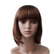 Bigood 18cm Beautiful Short Dark Brown Neat bang Straight Shoulder length wigs