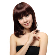 Bigood 36cm Shoulder length long curly hair pear flower sweet head Honey red wig