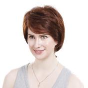 Bigood Middle-aged women Inclined bang human hair short curly hair Dark brown