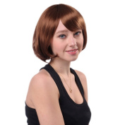 Bigood 20cm Personality Fashionable Inclined bang Buckle type Short Brown wig