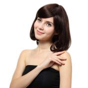 Bigood 42cm Sweet Inclined bang human hair short curly hair brown wig
