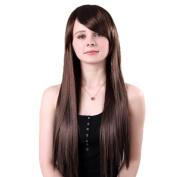 Bigood 65cm Smooth Long straight hair Inclined bang Brown wig