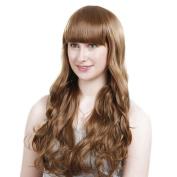 Bigood Neat bang Sweet Long Wavy Healthy Hair Party Full Coffee Wig