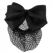 Gleader Black Polyester Bowknot Snood Net Barrette Metal Hair Clip for Women