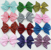 12pcs 10cm Boutique Hair Bows Girls Kids Children Alligator Clip Bling Shinning Pu Leather Houndstooth Pattern Ribbon Headbands 12color