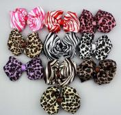 10pcs 10cm Boutique Hair Bows Girls Kids Children Alligator Clip Strips and Leopard Pattern Ribbon Headbands 10 Colour