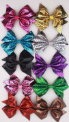 10pcs 10cm Boutique Hair Bows Girls Kids Children Alligator Clip Bling Shinning Pu Leather Ribbon Headbands 10 Colour