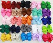 20pcs 10cm Boutique Hair Bows Girls Kids Children Alligator Clip Grosgrain Ribbon Headbands 20 Colo