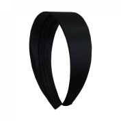 Black 5.1cm Wide Satin Hard Headband with No Teeth Head band for Women and Girls