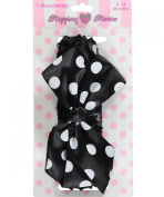 "Stepping Stones ""Polka Dot Bow"" Headwrap - black/white, 0 - 12 months"