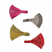 Set of FOUR wide Bandana Print Headwraps with Elastic Back, Red Yellow Hot Pink White