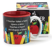 #1 Teacher 380ml Coffee Mug with Pencil, Rulers, Crayons, and Pen Accents Inexpensive Teacher's Gift