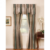 Window Accents 5-Piece Tuscan Scroll Stripe Jacquard Rod Pocket Set, 140cm by 160cm , Autumn
