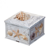Prinz Sand Piper Resin Box with Seashells and Starfish Accents