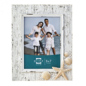 Prinz Sand Piper Resin Frame in Natural White with Seashells and Starfish Accents, 13cm by 18cm
