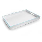 Accents by Jay Rectangle Tray, White with Light Blue Line