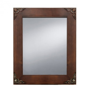 Prinz Palais Mirror with Dark Walnut Solid Wood Border and Antique Copper Metal Accents, 32cm by 27cm