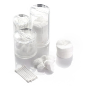 (Mother's Day Promotion Only $19.99) Z & Q Top Quality Acrylic Canister Box (3) Cylinders, 3pc Spa Canister Set, Including Cotton Pad Dispenser, Cotton Ball and Swab Holder / Organiser, Apothecary Jar