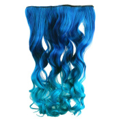 AGPtek 70cm Enstyle Supreme Neon Tangle Curly 100% Human Colour Hair Extension Ponytail- Dark blue to Royal Blue
