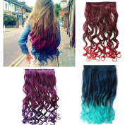AGPtek 70cm Enstyle Supreme Neon Tangle Curly Hair Extension Ponytail-wine red to dark red
