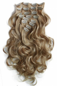PRETTYSHOP XXL Set 8 pcs 60cm Clip In Hair Extensions Full Head Hairpiece Wavy Curled Or Straight Heat-Resisting Div. Colours