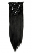 S-noilite 60cm Straight Natural Black Full Head Clip in Hair Extensions 8 Piece 18 Clips Hairpiece Trendy Design