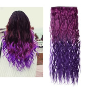 JUJU® Ombre Dip-dye Colour Clip in Straight Synthetic Thick Hair Extension 55-60cm Length Red to Purple Loose Curl for Fashion Girls