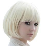 X & Y ANGEL New Popular Kanekalon Short Straight BOB Sexy Stylish Heat Resistant Synthetic Hair Wig Creamy White Blonde K004