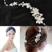 Ladies Silver Rhinestone Bridal Wedding Flower Pearls Headband Hair Clip Comb