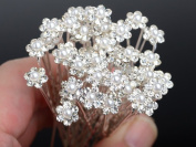 Moeni Bridal Wedding Prom Faux Small Pearl Rhinestone Crystal Flower Hair Styling U Pins -10 Pins in the Box