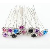 ILOVEDIY 20pcs Mixed Colour Crystal Hair Pins Decorative for Women Buns Long Hair
