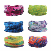 Delicol 6pcs Assorted Seamless Outdoor Sport Bandanna Headwrap Scarf Wrap
