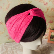 Women Lace Retro Turban Twist Head Wrap Headband Headscarf Twisted Knotted Soft Hair Band