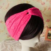 Women Lace Retro Turban Twist Head Wrap Headband Headscarf Twisted Knotted Soft Hair Band