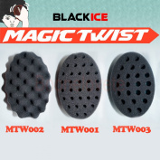 3pc Black Ice Magic Twist Sponge Hair Brush - All 3 Sizes 7mm 10mm Wave