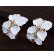 Chic Girl's Gardenia Flower Crystal Rhinestone Ear Hoop Buckle Ear Stud Earrings White