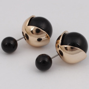 18k Gold Plated Colourful Jewellery Cool Reversible Double Sided Round Pearl Balls Stud Earring for Women