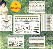 Super Metallic Gold Silver Black Jewellery Temporary Bling Tattoo 6 Sheets Pack