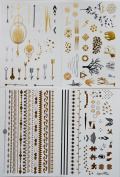 Really Shiny Metallic Tattoos by Frosted Ink Designs - Almost 100 Tattoos!!! (4 Sheets) - Temporary Jewellery, Bracelets, Bands, Designs - Get attention at the beach, pool, prom, party etc. With our Fun and Popular Arrows, Elephants, Infinity, Giraffe, ..