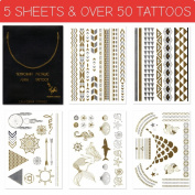 Metallic Gold Flash Temporary Tattoos - 5 SHEETS - Mermaid Edition - Gold and Silver Shiny Jewellery Tattoos