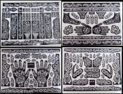 5 A3 SHEETS Self Adhesive Decal Stencils For Henna Temporary Tattoo Reusable DIY