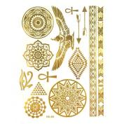 Allydrew Large Metallic Gold Silver and Black Body Art Temporary Tattoos, Circle Motifs, Hieroglyphs_1
