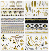 #MOST AMAZING DESIGNS# *HUGE! 6 SHEETS PACK* (more than 50 tattoos!) Gold Silver and Black Body Temporary Metallic Tattoos. Jewellery Inspired Bling Adult Temp Metallic Glitter Art Tattoos. Long Lasting, Trendy Tattoo Designs - By Venus Tattoo