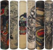 Efivs Arts Temporary Fake Tattoo Arm Sleeves Slip on Skull Tribal Artwork Costume Stretch Nylon Men Women - 6 Pcs