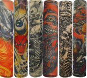 Efivs Arts Temporary Fake Tattoo Arm Sleeves Slip on Ghost Skull Artwork Costume Stretch Nylon Men Women New Pair - 6 Pcs