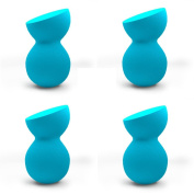 Pro Beauty Sponge Blender 4 pc Blue Sculptor Makeup Sponges for Blending, Stippling, Highlighting and Contouring! Flawless Applicator for Liquid, Creams, and Powders, Latex Free