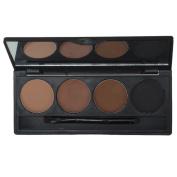 Weksi 4 Colours Pro Eyebrow Powder Eye Brow Palette Makeup Shading Kit with Brush Mirror Set