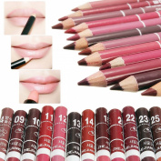 LuckyFine Set of 12pcs Girl's Pro Lipliner Waterproof Lip Liner Pencil 15CM 12 Colours HOT