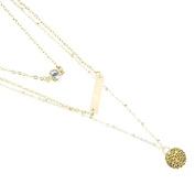 Bestpriceam (TM) Women Vintage Gold Multilayer Crystal Pendant Chain Statement Necklace