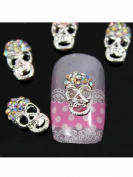 Sellingpillar 10pcs Silver Skull Alloy 3D AB Rhinestone Crystal Nail Art Tips Slice Decoration
